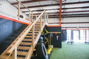 Stairway near exercise equipment