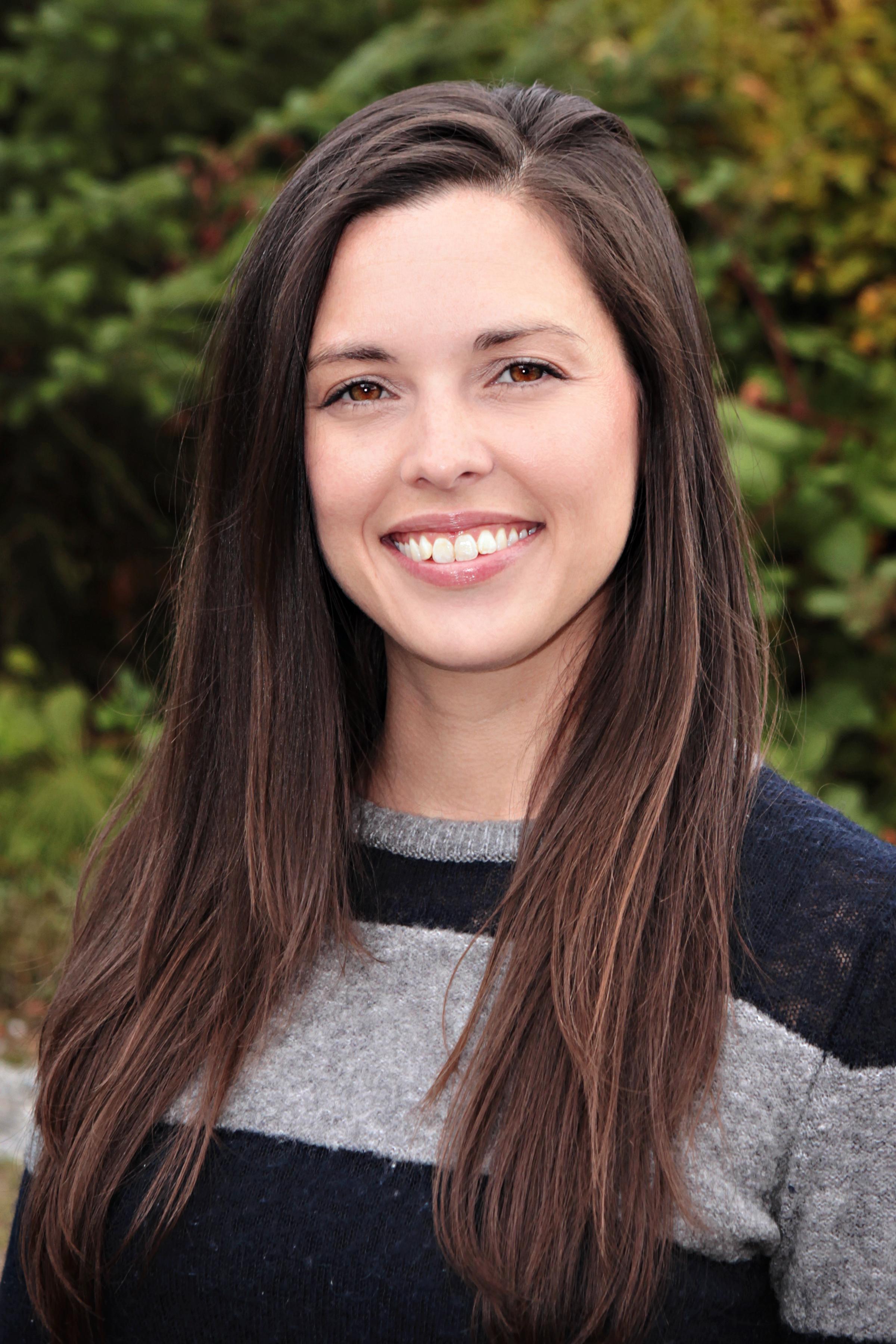 Katie Eltrich wearing a striped sweater