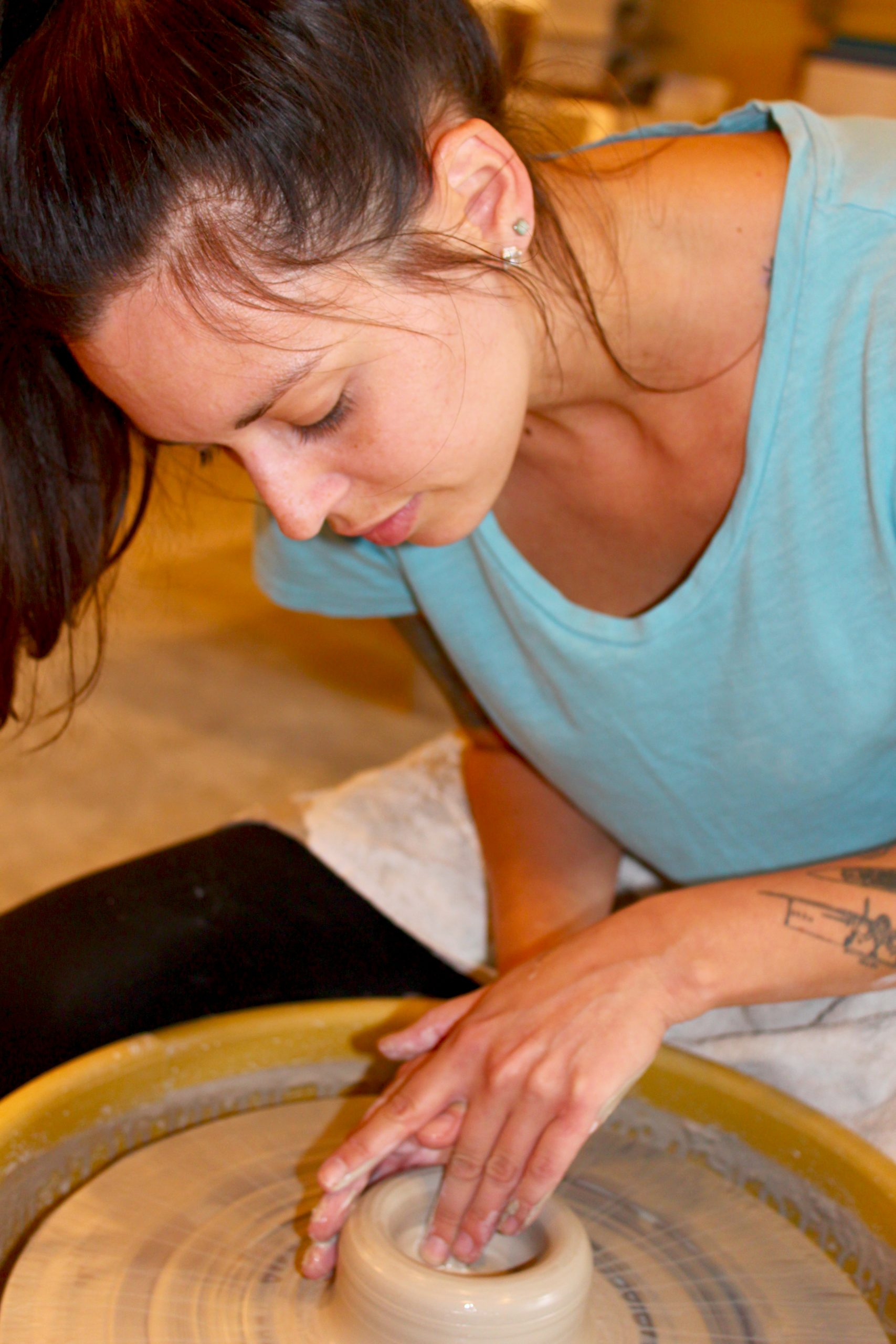 Katie Eltrich creating pottery.